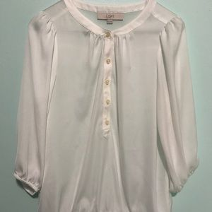 LOFT White Flowy Sheer Peasant Blouse